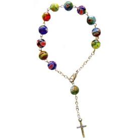 Bracelet dizainier avec perles rondes en verre de Murano