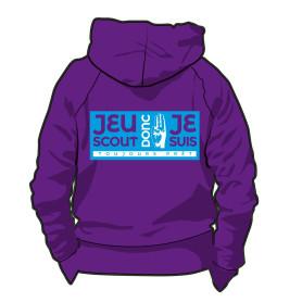 Sweat-shirt « Jeu scout, donc je suis ! » violet Taille S