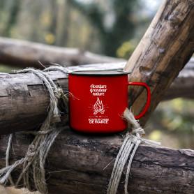 Tasse émaillée « Aventure Grandeur Nature » rouge