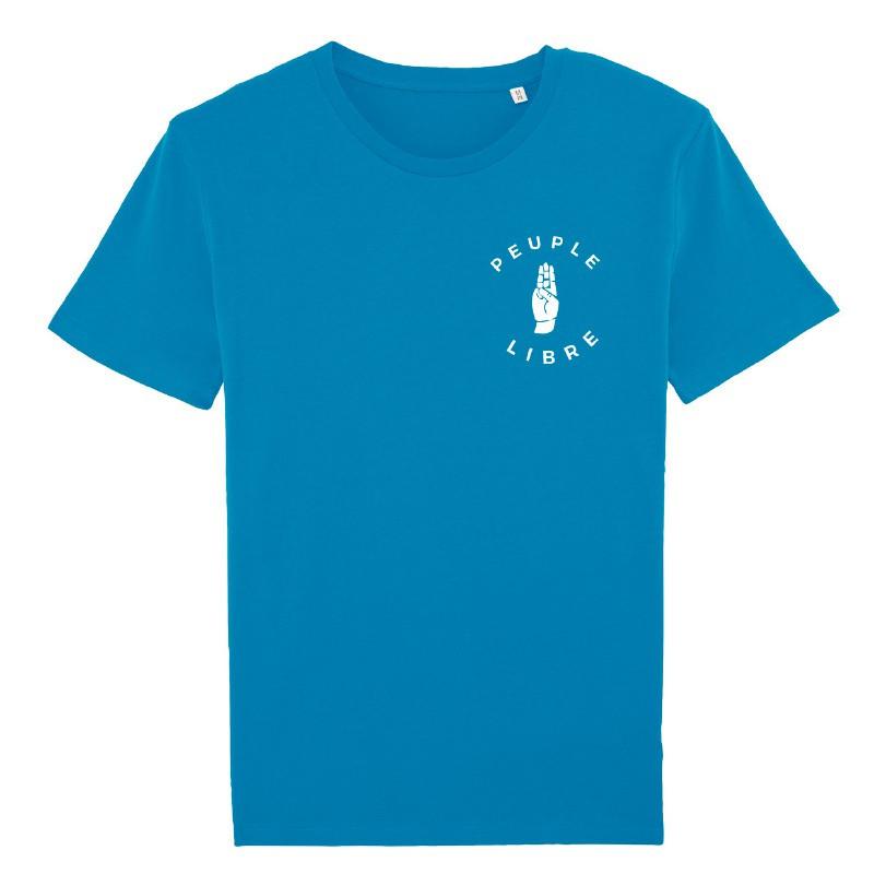 T-shirt « Peuple Libre » - coton bio - bleu