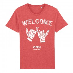 T-shirt « Welcome » - coton bio - rouge chiné