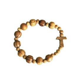 Bracelet dizainier en bois élastique et croix