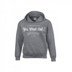 "Sweat à capuche enfant ""Yes week-end!"" - Gris"