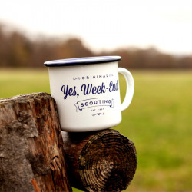 Tasse émaillée « Yes, Week-end ! » blanche