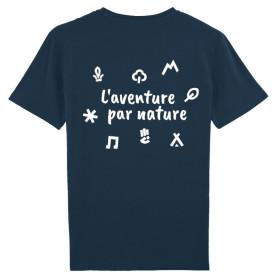 "T-shirt ""L'aventure par nature"" - bleu marine"