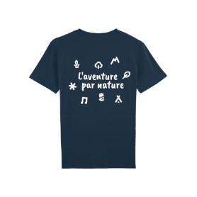"""T-shirt enfant """"L'aventure par nature"""" - bleu marine"""