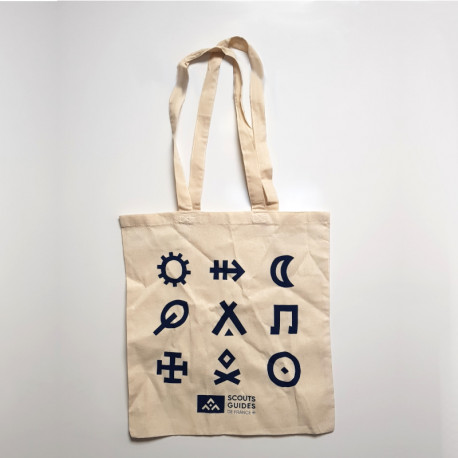 Tote bag Scouts et Guides de France écru/bleu