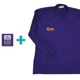 Chemise violette pour Responsables (coupe Homme) en coton bio + patch