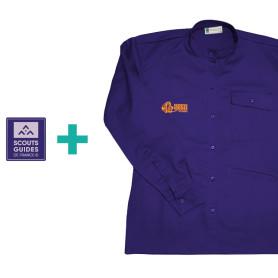Chemise violette pour Responsables (coupe Femme) en coton bio + patch