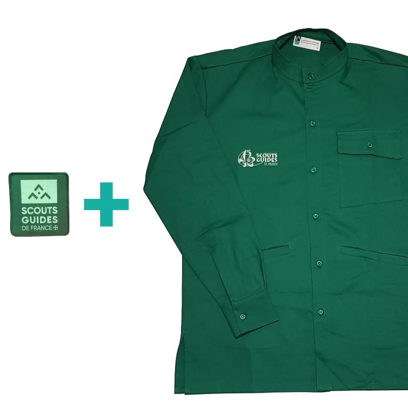 Chemise verte Compagnons en coton bio + patch