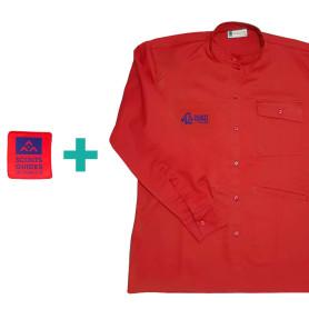 Chemise rouge chef.taine Pionniers/ Caravelles en coton bio + patch