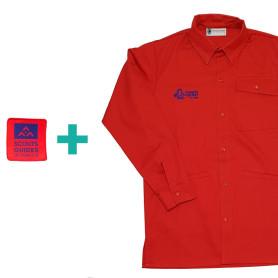 Chemise rouge Pionniers/ Caravelles en coton bio + patch