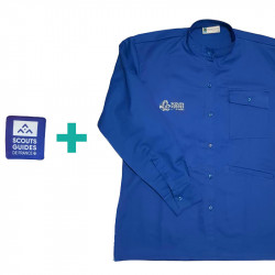 Chemise bleue chef.taine Scouts/ Guides en coton bio + patch
