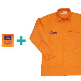 Chemise orange chef.taine Louveteaux/ Jeannettes en coton bio + patch