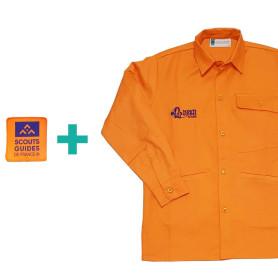 Chemise orange Louveteaux/ Jeannettes en coton bio + patch