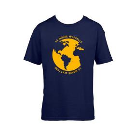 """T-Shirt """"Le monde m'appelle"""" - bleu marine"""