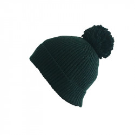 Bonnet vert foncé avec pompom