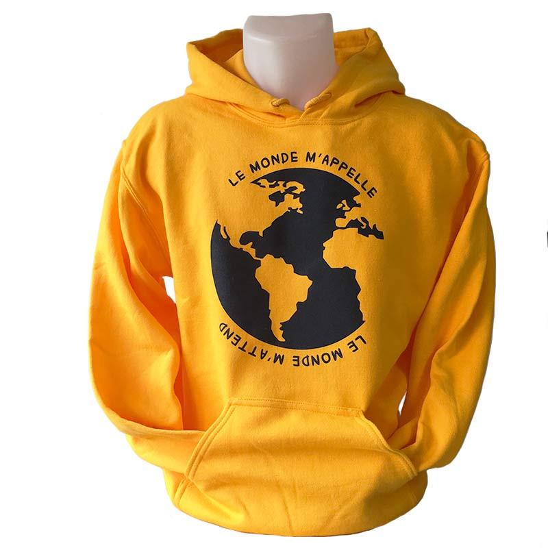 Sweat à capuche « Le monde m'appelle » - jaune
