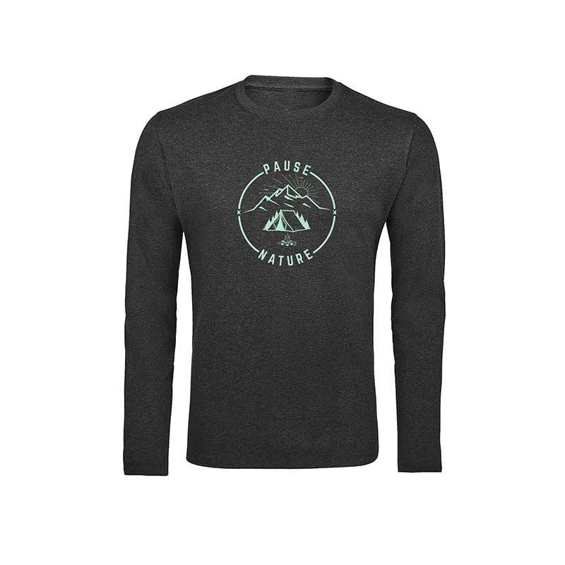 """T-Shirt manches longues """"Pause Nature"""" gris foncé"""