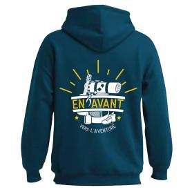 Sweat-shirt « En avant vers l'aventure » bleu canard