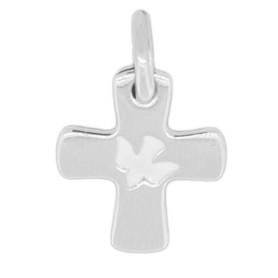 Croix en argent avec colombe incrustée