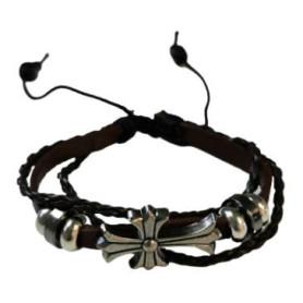 Bracelet en cuir marron avec croix en métal