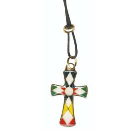 Croix en métal doré avec résine multicolore