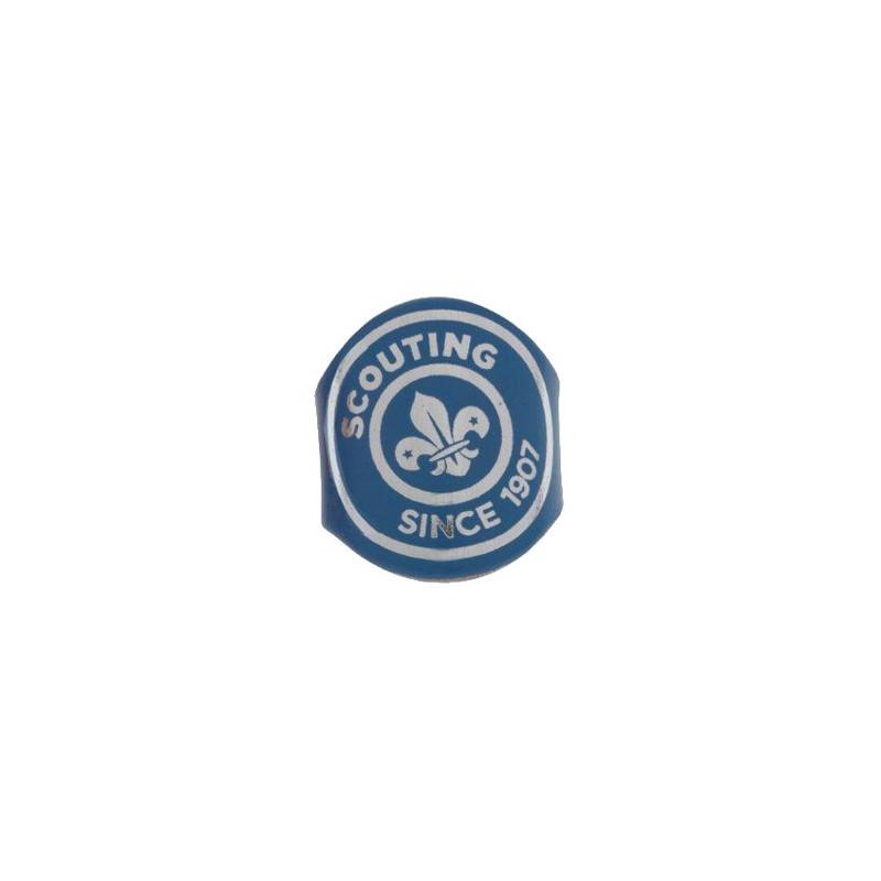 "Bague en cuir bleu ""Scouting since 1907"""